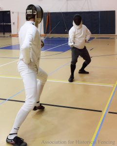 Sabre fencing bout at the Classical Fencing Open Tournament