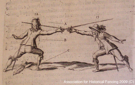 Illustration from mid-17th century Italian fencing treatise depicting